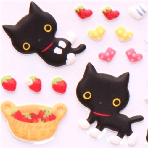 sticker set 4pcs Kutusita Nyanko cat strawberry
