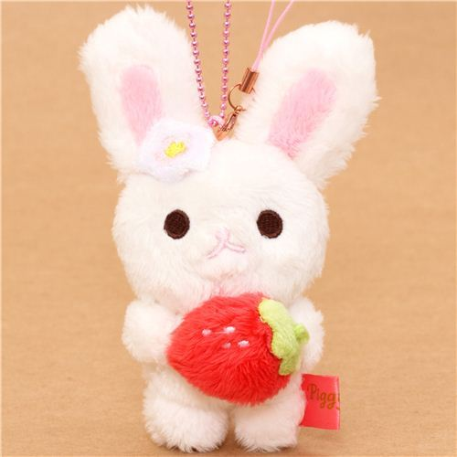Piggy Girl rabbit plush charm white rabbit strawberry