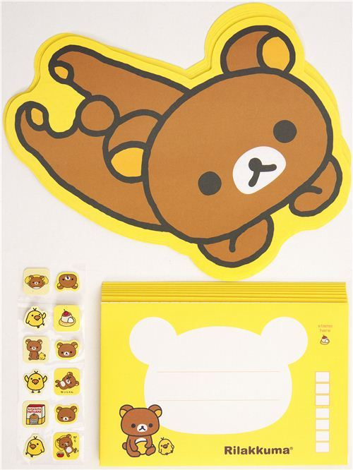 Rilakkuma bear die-cut Letter Set by San-X