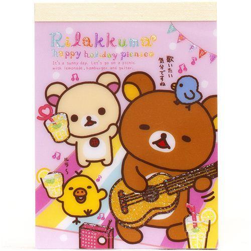 San-X mini Memo Pad Rilakkuma bear picnic & guitar