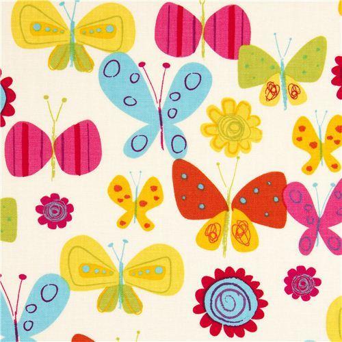 off-white Robert Kaufman fabric flower butterfly