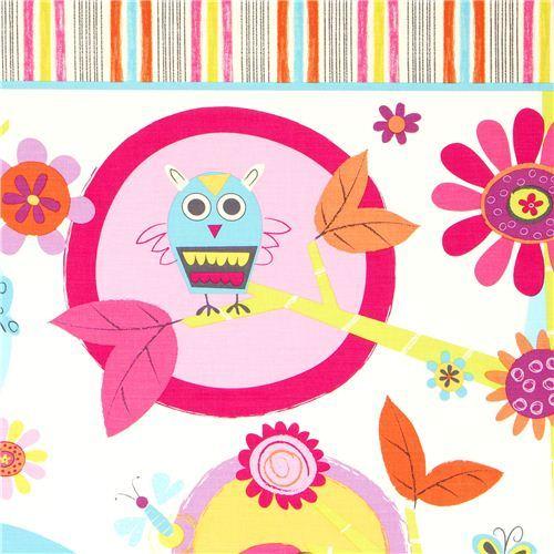 white Robert Kaufman fabric with owl bird & flower
