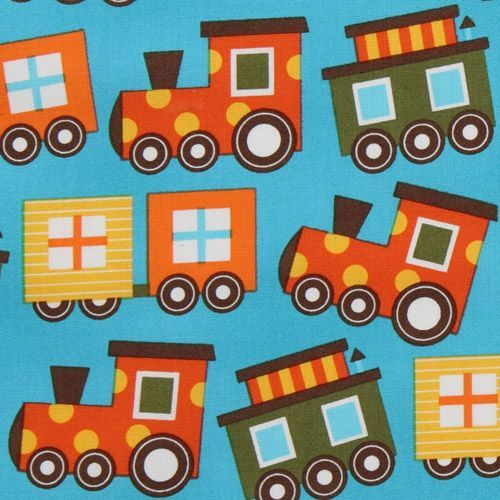 blue organic fabric colourful train by Robert Kaufman