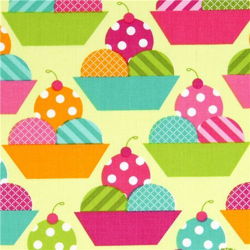 green fabric with ice cream cups by Robert Kaufman