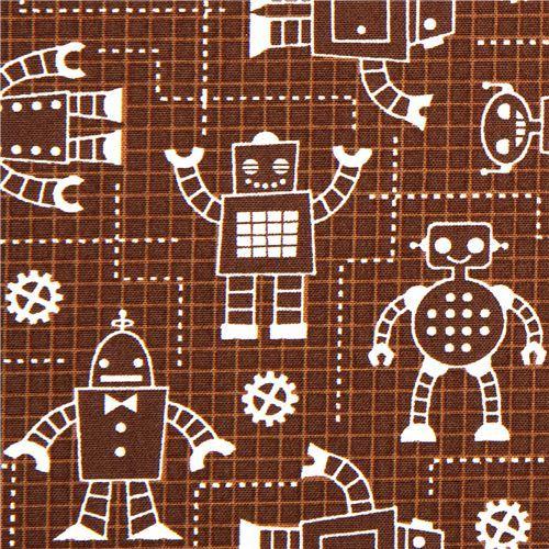 brown organic fabric with robots by Robert Kaufman