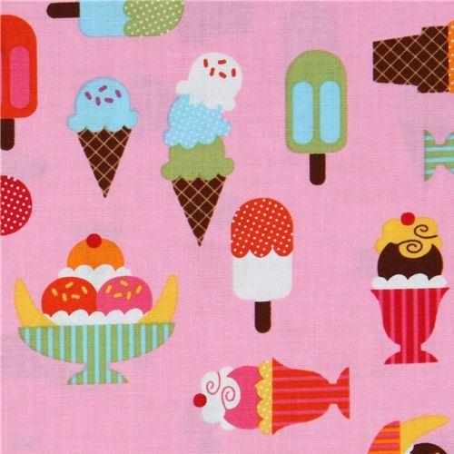 pink fabric ice cream cups Robert Kaufman kawaii