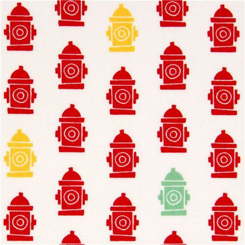 white fabric with red hydrants by Robert Kaufman