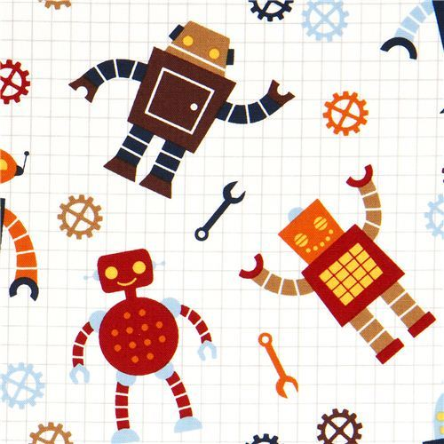 white organic fabric with robots by Robert Kaufman