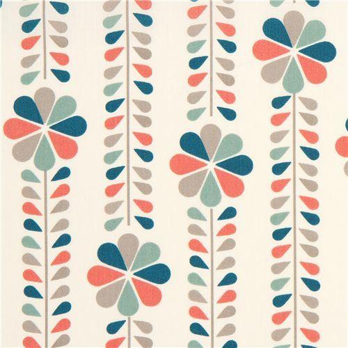 cream birch organic fabric with flower stems coral USA