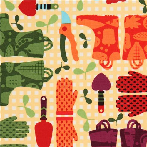 light yellow gardening supplies fabric by Timeless Treasures