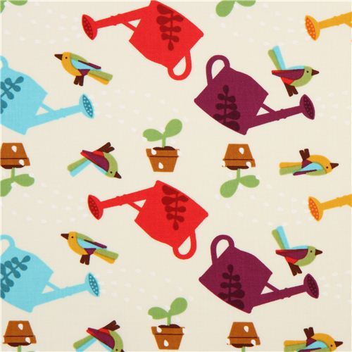 off-white gardening watering cans fabric Timeless Treasures