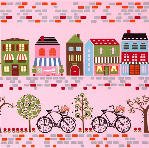 pink designer fabric with cafe bike street house