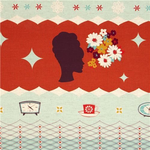red Kokka retro fabric with clocks woman head Japan