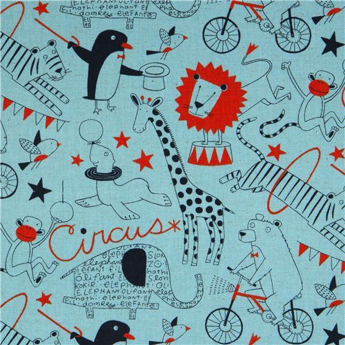 blue circus animals canvas fabric by Nancy Wolff Kokka