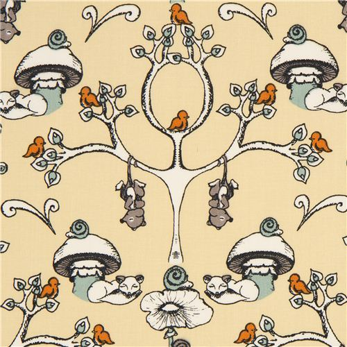 beige birch organic fabric from the USA trees & mushrooms