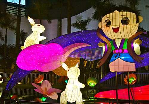 Colorful bunny lanterns in Hong Kong.