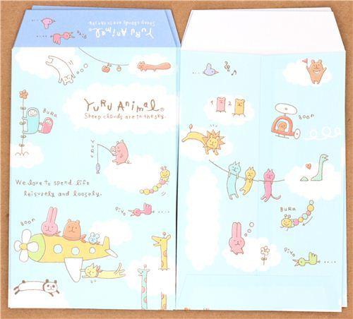 kawaii blue cloud animals  mini envelope Japan