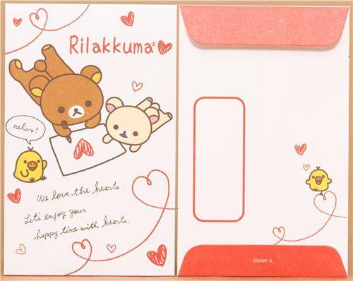 white Rilakkuma bear mini envelopes heart