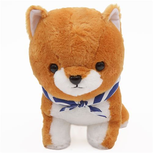 big brown white Mameshiba San Kyodai plush toy from Japan