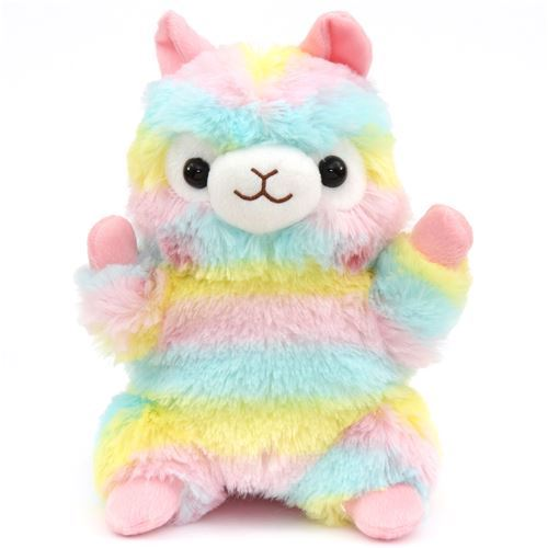 colorful alpaca hand puppet Alpacasso plush toy from Japan