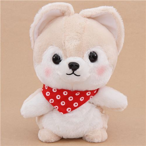 cream dog hand puppet Mameshiba San Kyodai plush toy from Japan