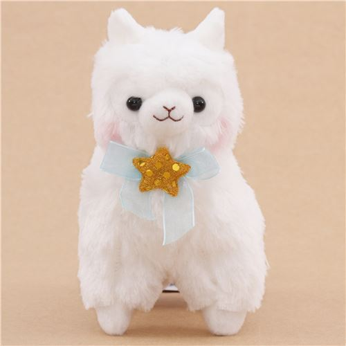cute white alpaca blue bow golden-yellow star plush toy from Japan