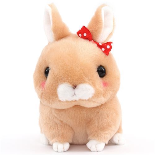 light brown squeaky rabbit Kyun to Naki Usagi plush toy from Japan