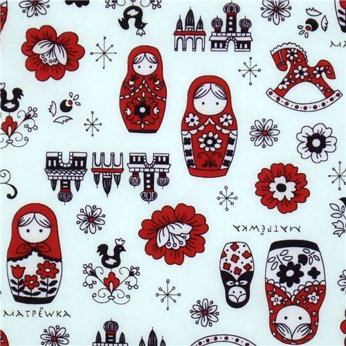 beautiful matryoshka dolls Kokka fabric Japan babushka