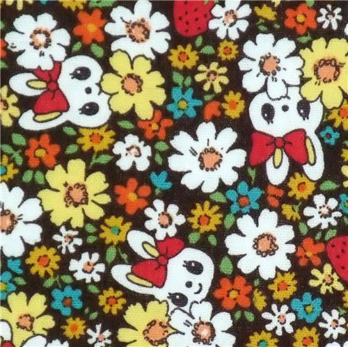 cute florets bunny Kokka fabric Japan kawaii