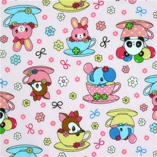 cute pink deer panda bunny elephant Kokka fabric