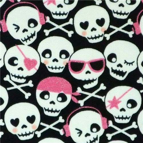 cute skull with pink glitter Kokka fabric Japan