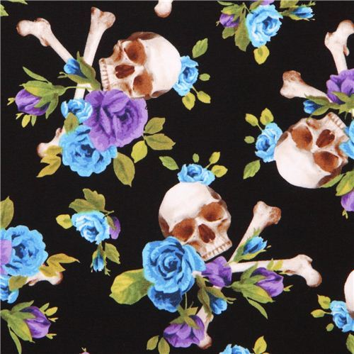 black fabric blue purple flowers big Skull cross bones Michael Miller