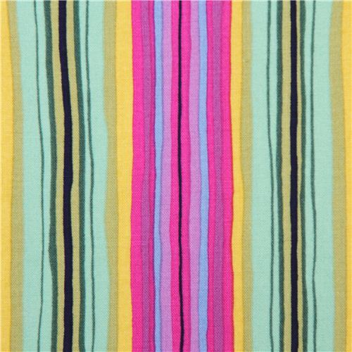 green purple colorful stripe fabric Michael Miller
