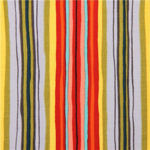 grey red colorful stripe fabric Michael Miller