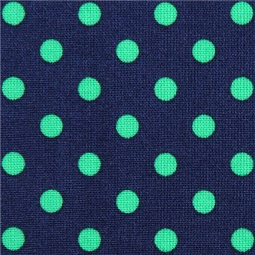 navy blue Michael Miller fabric small green polka dots