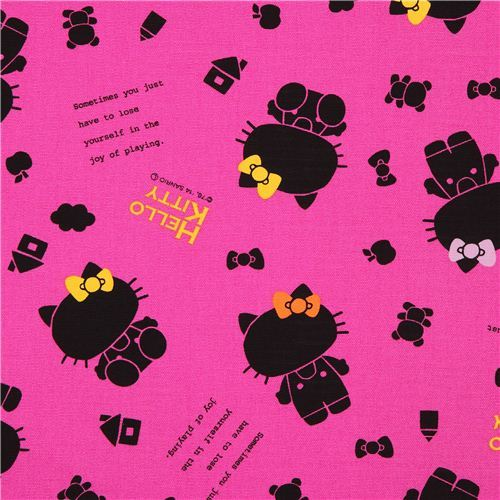 magenta Japanese shadow Hello Kitty oxford fabric by Sanrio