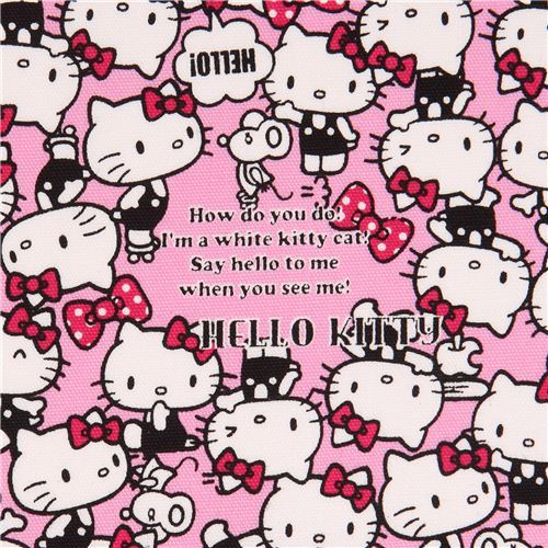 pink Hello Kitty laminate fabric many cats bows by Sanrio from Japan