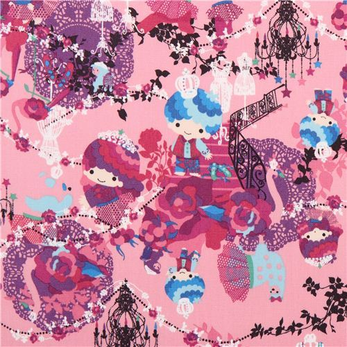 pink Little Twin Stars royalty Sanrio laminate fabric from Japan