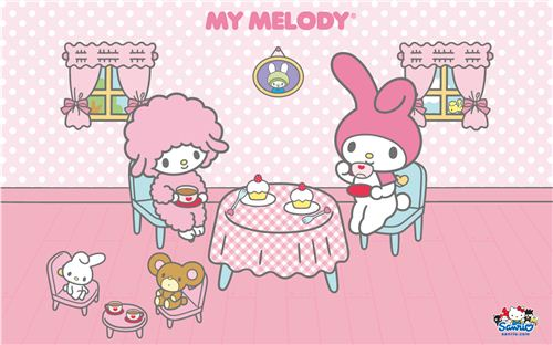My Melody with coffee and cupcakes wallpaper