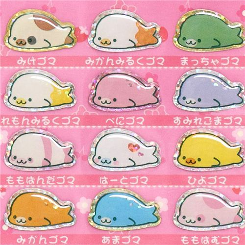 Mamegoma Baby seals glitter epoxy stickers pink gel stickers
