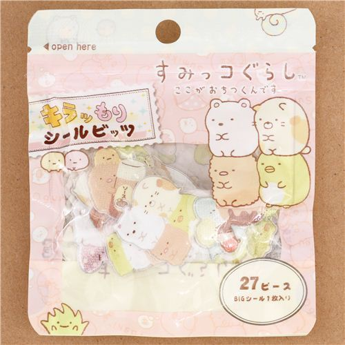 Sumikkogurashi shy animals sticker sack 3D glitter stickers San-X