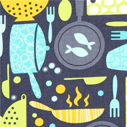 grey-blue kitchen ware fabric by Timeless Treasures USA
