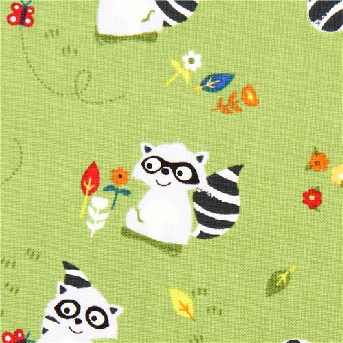 green raccoon animal fabric by Timeless Treasures
