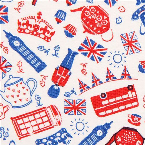 white British icons London fabric by Timeless Treasures