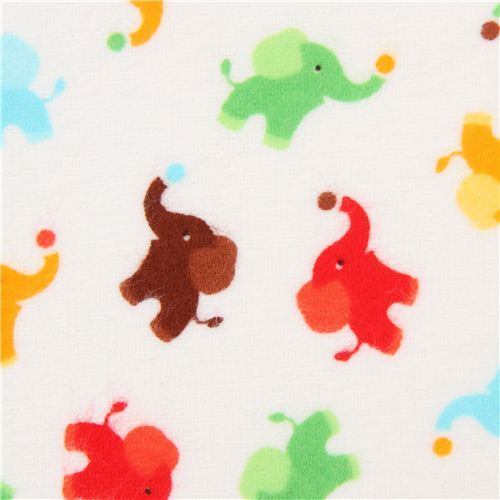 white mini elephant animal flannel fabric Timeless Treasures