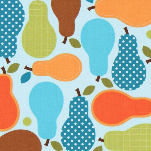 beautiful colourful pears fabric blue Robert Kaufman