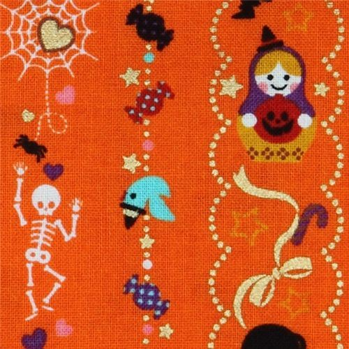 orange Halloween kawaii fabric matryoshka cat sweets