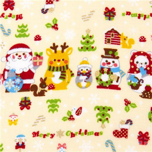 white Christmas fabric Santa Claus kawaii animals