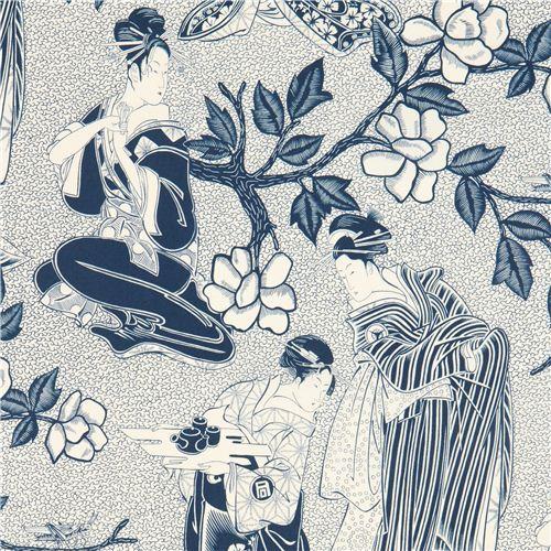 indigo blue Alexander Henry Geisha fabric from the USA