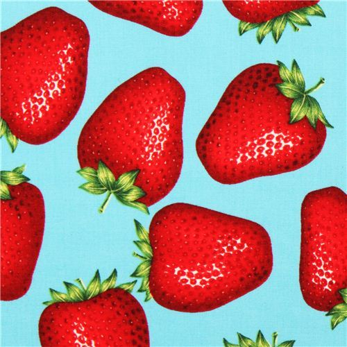 turquoise Alexander Henry fruit strawberry fabric